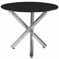 Calder Black Glass Round Dining Table Chrome Legs