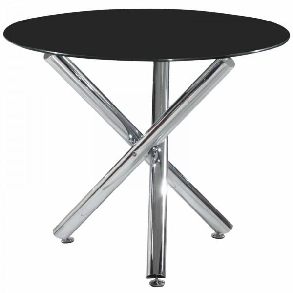 Calder Black Glass Round Dining Table Chrome Legs