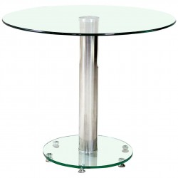 Alonza Clear Glass Round Dining Table Chrome Frame