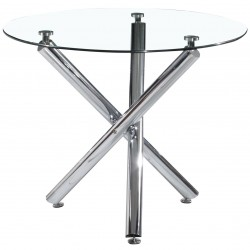 Calder Clear Glass Round Dining Table Chrome Legs