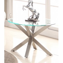 Nelson Clear Glass Round Coffee Table Brushed Stainless Steel Legs