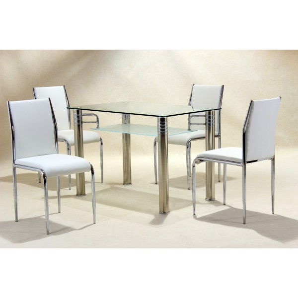 Vercelli Clear Glass Dining Table Set Four White Chairs