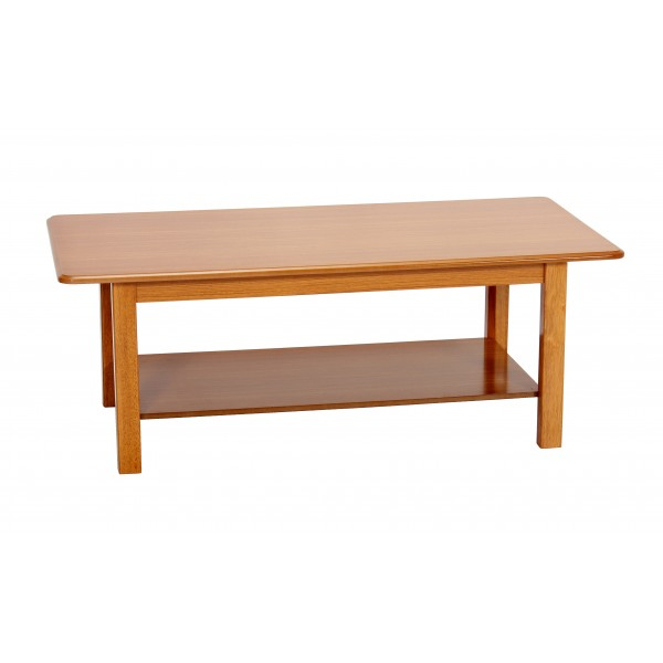 Queen Anne Golden Oak Traditional Rectangle Shelf Coffee Table
