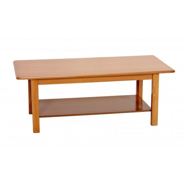 Queen Anne Golden Oak Traditional Rectangle Shelf Coffee Table