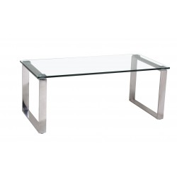 Carter Clear Glass Stainless Steel Legs Coffee Table
