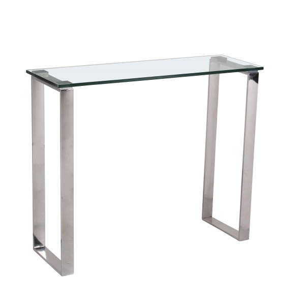 Carter Console Side Hall Table Clear Glass Rectangle Top Steel Frame