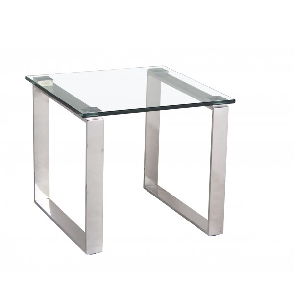 Carter Lamp Side End Table Clear Glass Square Top Steel Frame