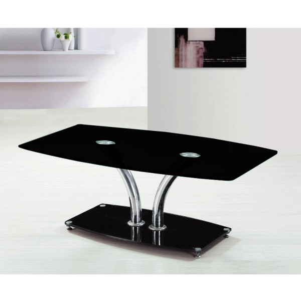 Coffee Table Black Glass Rectangle Top with Chrome Frame