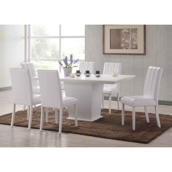 Feather Large White Dining Table with Six White Leather Chairs
