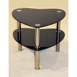 Kansas Two Shelf Heart Shape Black Glass Display Stand - Lamp Side End Table
