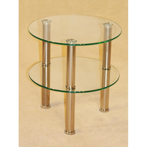 Kansas Two Shelf Round Clear Glass Display Stand - Lamp Side End Table