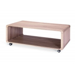 Linden Coffee Table Wooden Rectangle with Shelf Castors - Natural Finish
