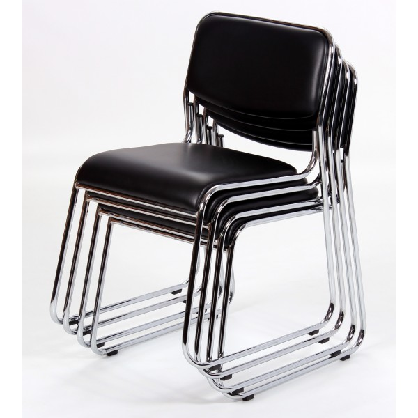 Orkney Dining Chairs Black Leather Chrome - Pack of Four