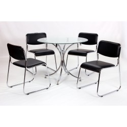 Orkney Clear Glass Round Dining Table Four Black Leather Chairs