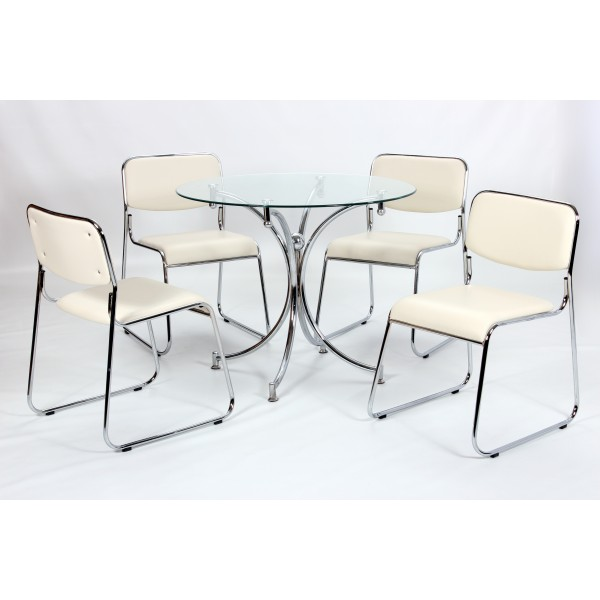 Orkney Clear Glass Round Dining Table Four Cream Leather Chairs