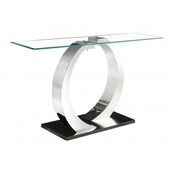 Phoenix Console Side Hall Table Clear Glass Rectangle Top Steel Frame