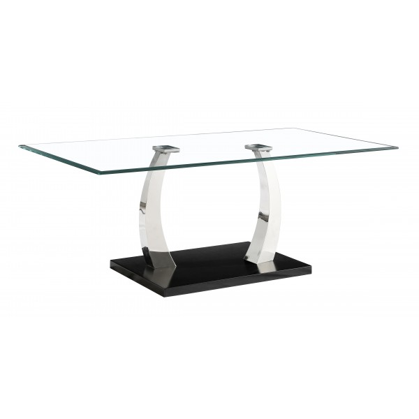 Phoenix Clear Glass Stainless Steel Legs Coffee Table