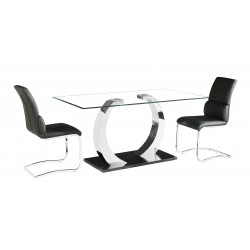 Phoenix Clear Glass Dining Table Six Black Leather Chairs