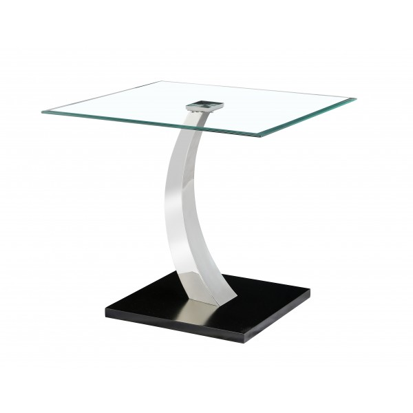 Phoenix Lamp Side End Table Clear Glass Square Top Steel Frame