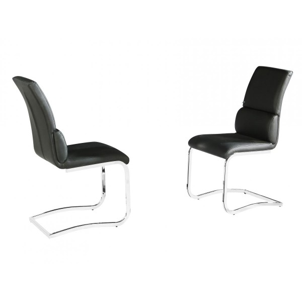 Two Phoenix Black Leather Dining Chairs Chrome Legs