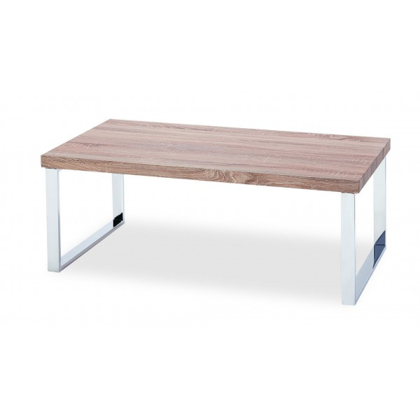 Talbot Coffee Table Solid Wooden Top Natural Finish Stainless Steel legs