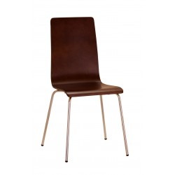 Four Fiji Rectangle Wooden Chrome Dining Chairs Walnut Finish