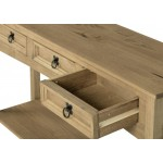 Corona Light Waxed Solid Pine Console Side Hall Table with Three Drawers