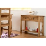 Corona Light Waxed Solid Pine Console Side Hall Table with Two Drawers