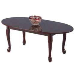 Queen Anne Traditional Oval Coffee Table - Mahogany Finish