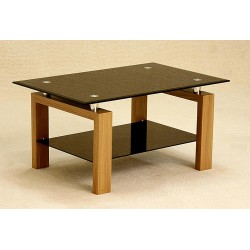 Adina Coffee Table Two Shelf Black Glass Oak Finish