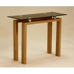 Adina Console Hall Side Table Display Stand Black Glass Oak Finish