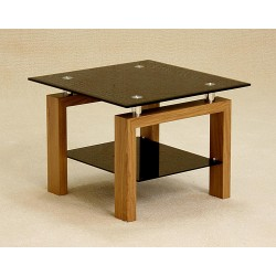 Adina Square Black Glass Lamp Side End Coffee Table Oak Finish