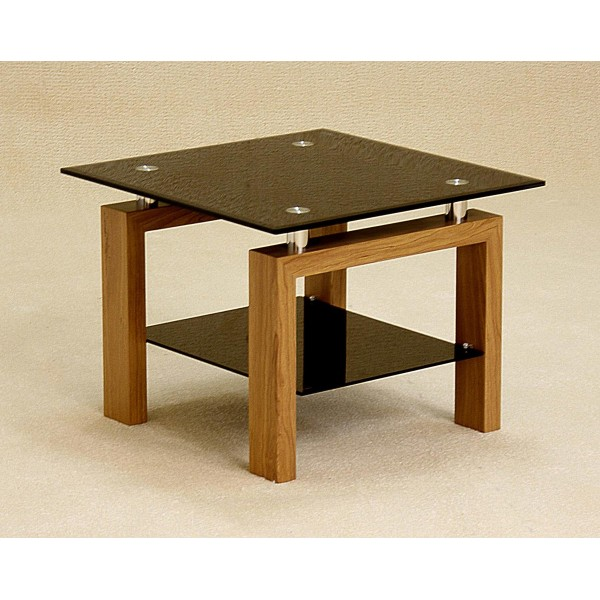 Adina Lamp Side End Coffee Table Square Black Glass Oak Finish