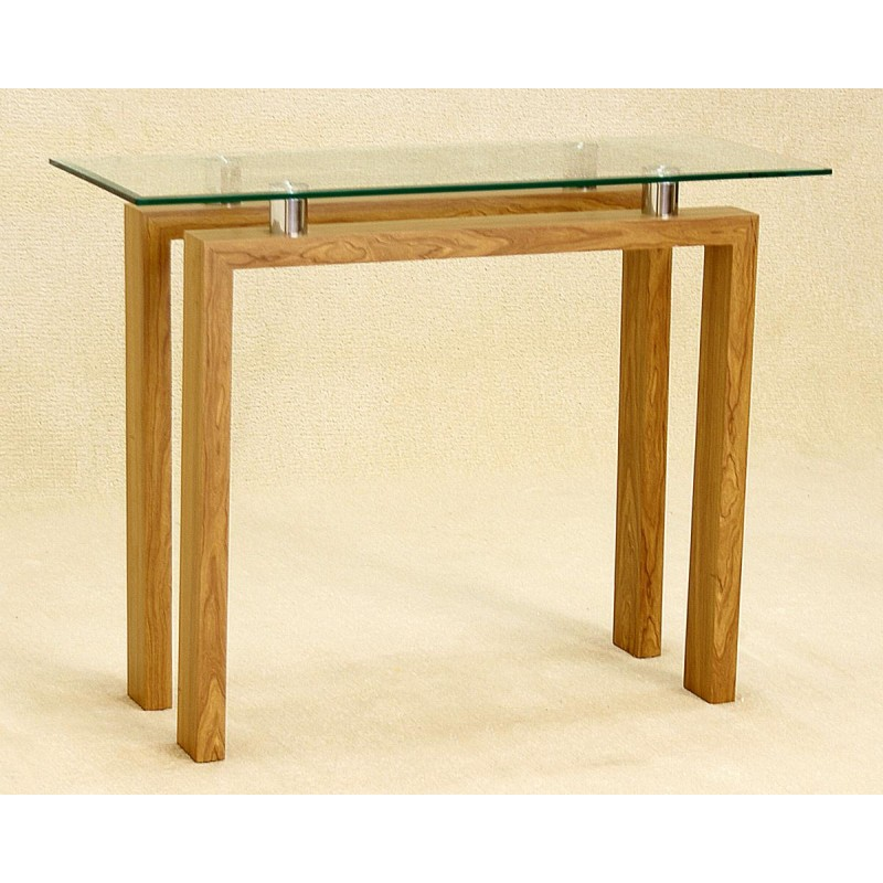 Adina Clear Glass Console Hall Side Table Display Stand Oak Finish - Display Sofa Table
