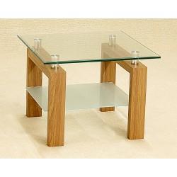 Adina Clear Glass Lamp Side End Coffee Table Oak Finish