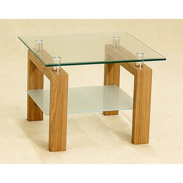 Adina Clear Glass Lamp Side End Coffee Table Oak Finish