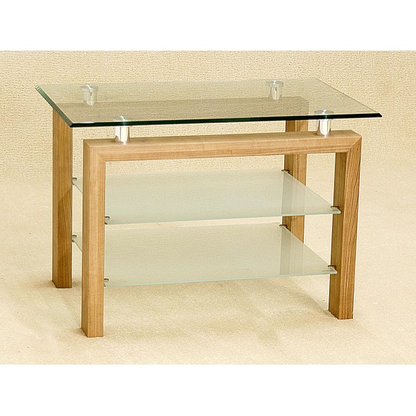Adina Clear Frosted Glass Three Shelf TV Unit Display Stand Oak Finish