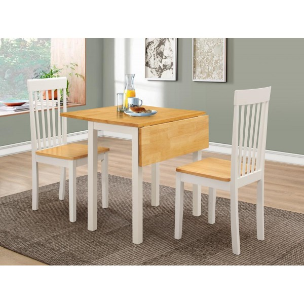 Atlas Two Drop Leaf Folding Extending Dining Table with Two Chairs - White & Oak Finish