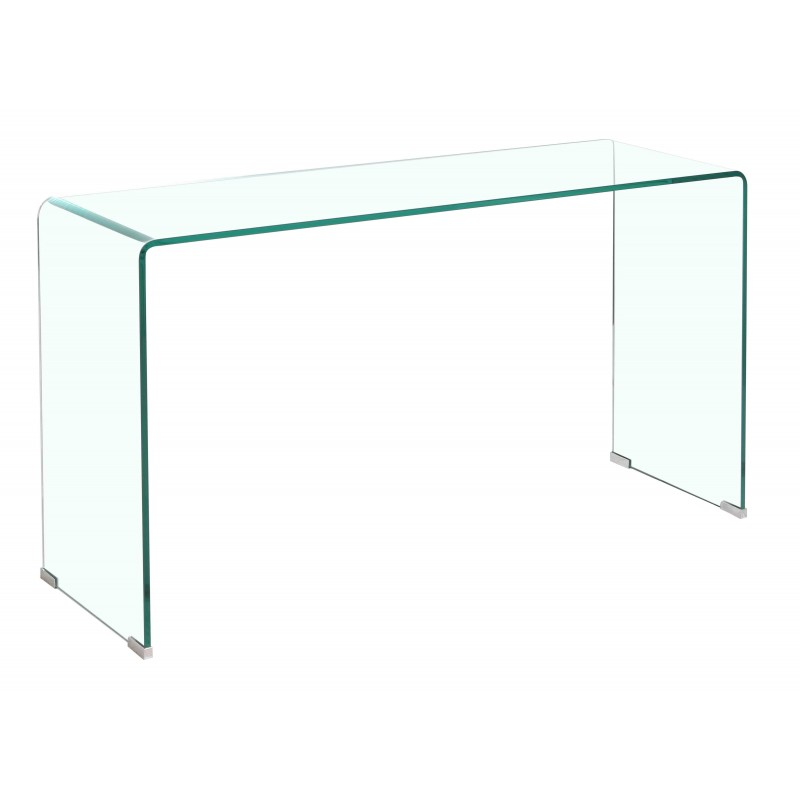 Console Hall Table Clear Glass Rectangle Top Bent Thick 12mm Tempered Glass