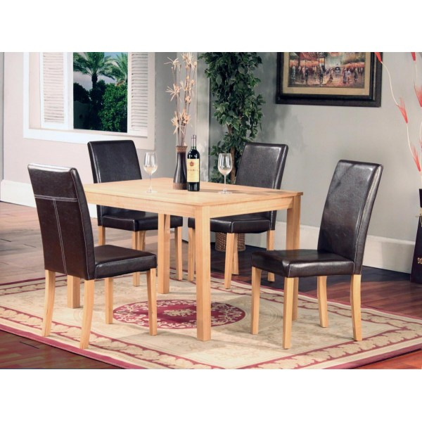 Ashdale Solid Ash Dining Table Four Leather Chairs