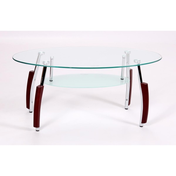 Bolivia Clear Glass Oval Coffee Table Frosted Shelf Mahogany Legs