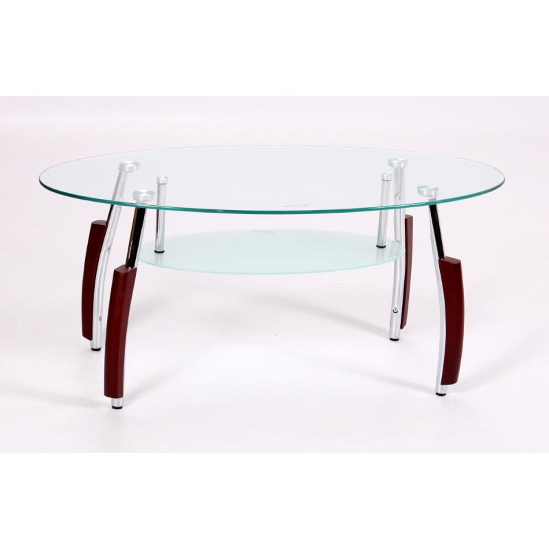 Oval Coffee Table With Shelf.Bolivia Clear Glass Oval Coffee Table Frosted Shelf Mahogany Legs