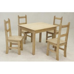 Corona Mexican Light Waxed Solid Pine Small Dining Table Set with Four Chairs