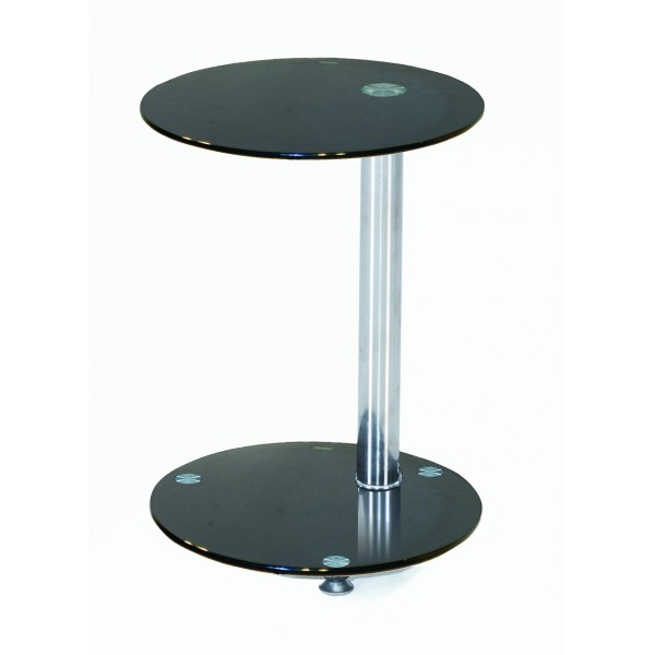 Conway Black Glass Chrome Lamp Side End Display Table