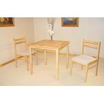 Dinnite Small Square Dining Table with Two Chairs - Natural Finish