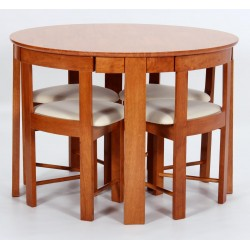 Durham Round Dining Table Four Chairs - Meduim Oak Finish
