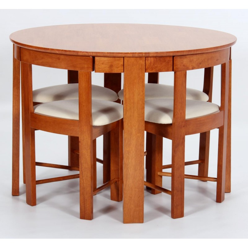 Durham Round Dining Table With Four Chairs Meduim Oak Finish