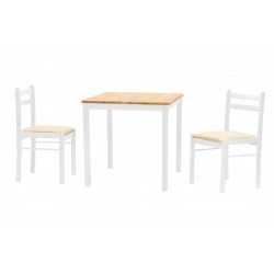 Dinnite Small Square Dining Table with Two Chairs - White & Natural Finish