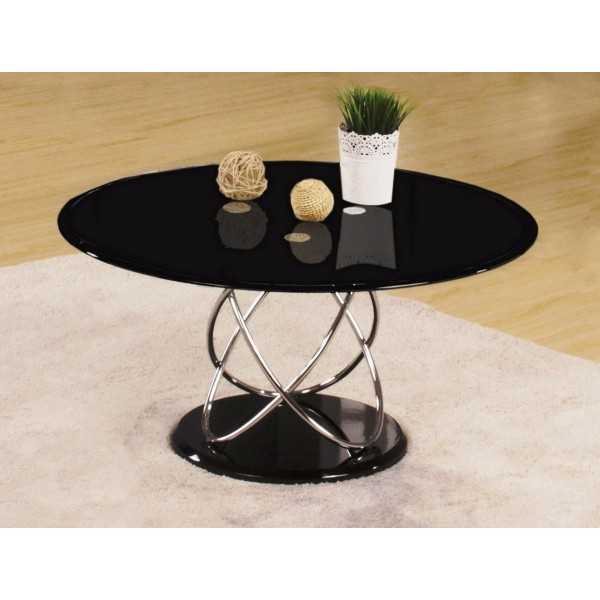 Eclipse Round Black Glass Coffee Table With Chrome Spiral Frame
