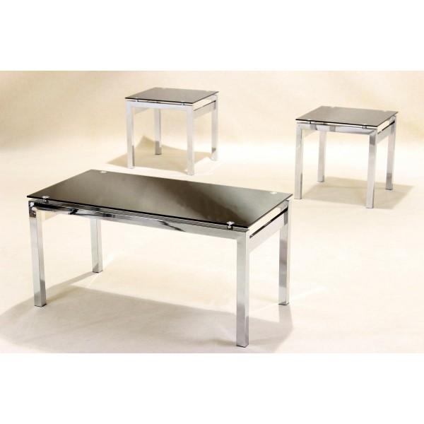 Eton Three Piece Black Glass & Chrome Coffee Table - Lamp Side End Table Set
